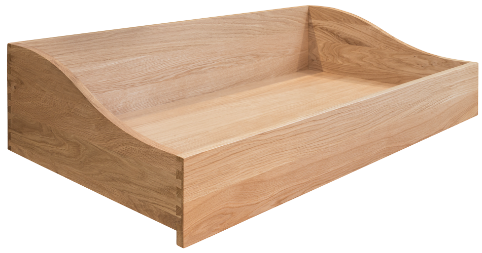 Oak Shaped Dropped Front, Drawer Box, Dovetailed Drawer Box,